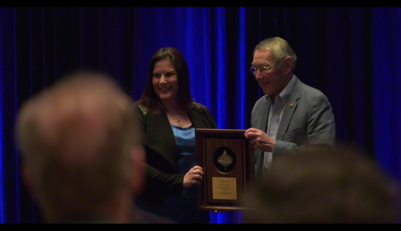 Sabrina Ewald receives the 2021 Teacher of the Year Award