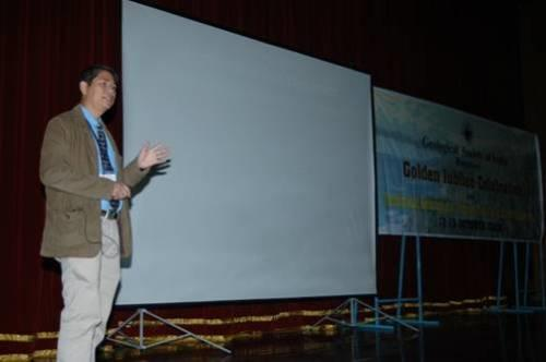 Herman Darman, AAPG Past President of Asia Pacific region, gave his talk in the conference