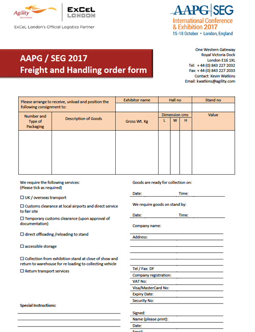 ICE 2017 Freight Handling and Order Form